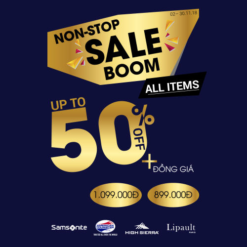 BÙNG NỔ CÙNG SAMSONITE - NONSTOP SALE BOOM UP TO 50% ALL ITEMS