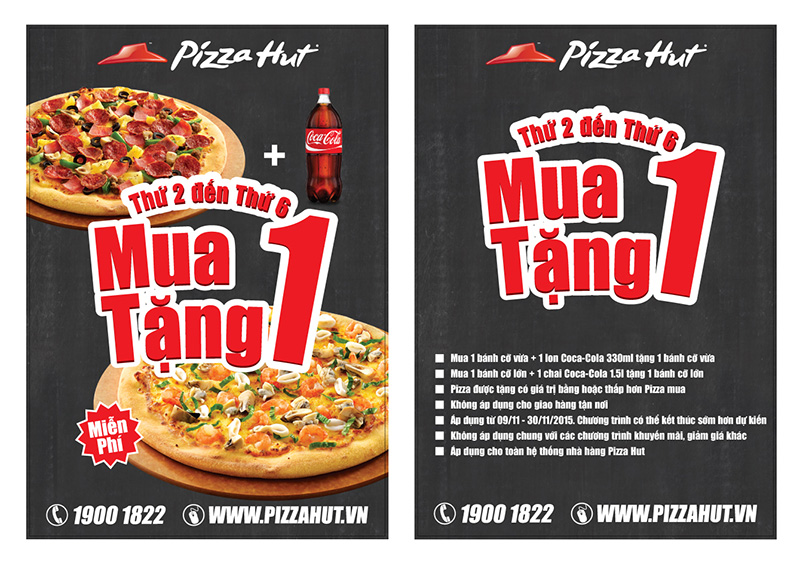 Pizza Hut, mua 1 tang 1